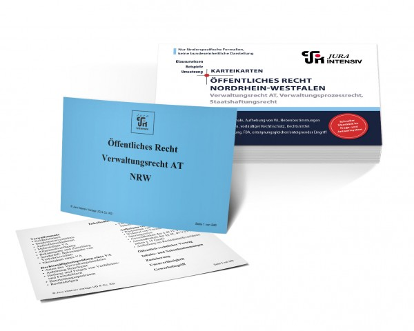 Karteikarten Öffentliches Recht Nordrhein-Westfalen: Verwaltungsrecht AT, Verwaltungsprozessrecht und Staatshaftungsrecht für das 1. Examen