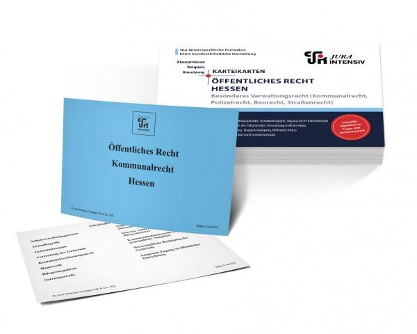 Karteikarten Öffentliches Recht Hessen, Besonderes Verwaltungsrecht: Kommunalrecht, Polizeirecht, Baurecht und Straßenrecht für das 1. Examen