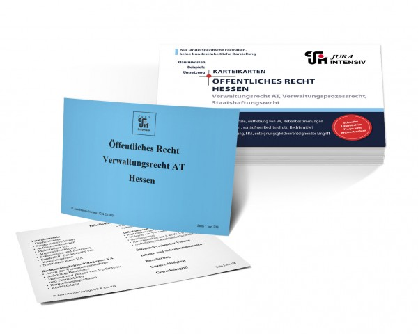 Karteikarten Öffentliches Recht Hessen: Verwaltungsrecht AT, Verwaltungsprozessrecht und Staatshaftungsrecht für das 1. Examen