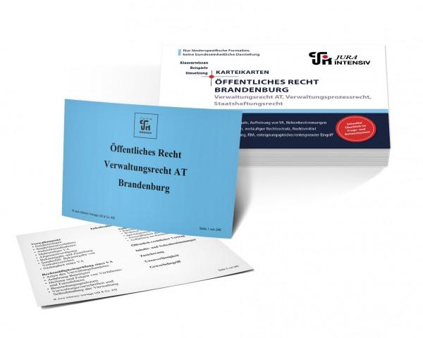 Karteikarten Öffentliches Recht Brandenburg: Verwaltungsrecht AT, Verwaltungsprozessrecht und Staatshaftungsrecht für das 1. Examen