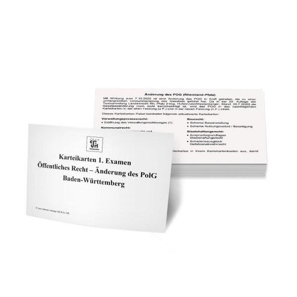 Nachkaufset Karteikarten 1. Examen Öffentliches Recht Baden-Württemberg - Änderung des PolG