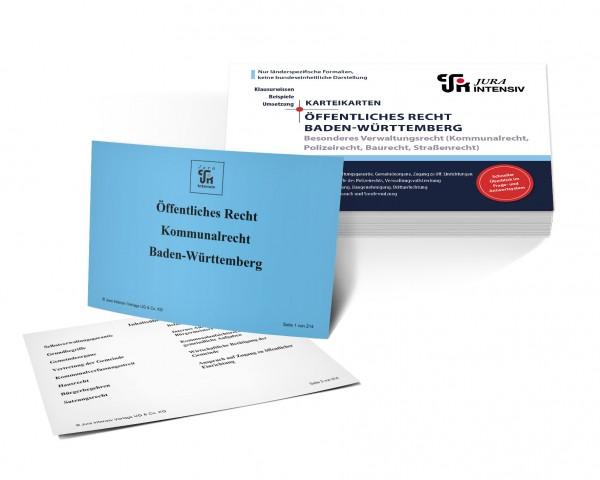 Karteikarten Öffentliches Recht Baden-Württemberg, Besonderes Verwaltungsrecht: Kommunalrecht, Polizeirecht, Baurecht und Straßenrecht für das 1. Examen