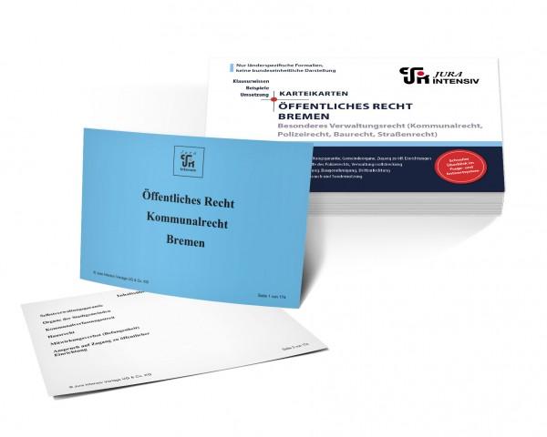 Karteikarten Öffentliches Recht Bremen, Besonderes Verwaltungsrecht: Kommunalrecht, Polizeirecht, Baurecht und Straßenrecht für das 1. Examen